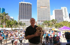 Mayor Carlos Gimenez with his furry best friend