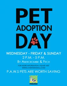 PAWS Adoption Day Wed-Fri and Sun