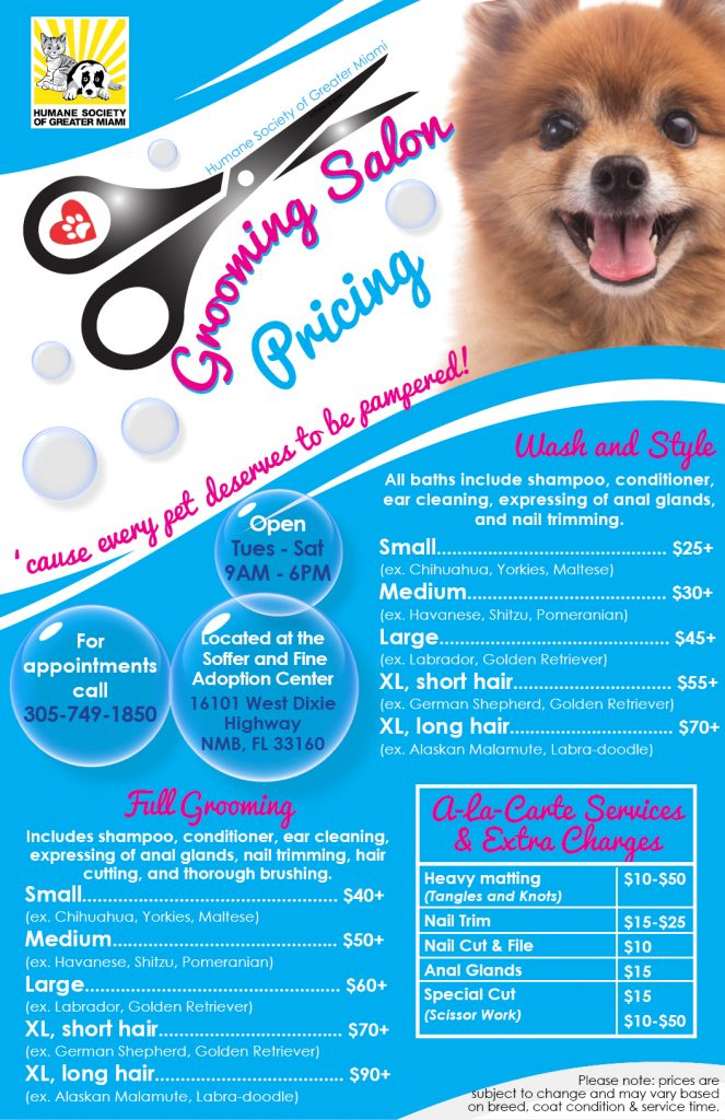 Grooming Salon Menu of Services Pricing 11×17